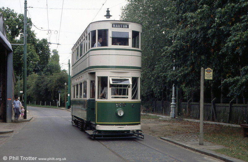 Blackpool 159 makes its way along the EATM's vintage street on 2nd September 1990.
