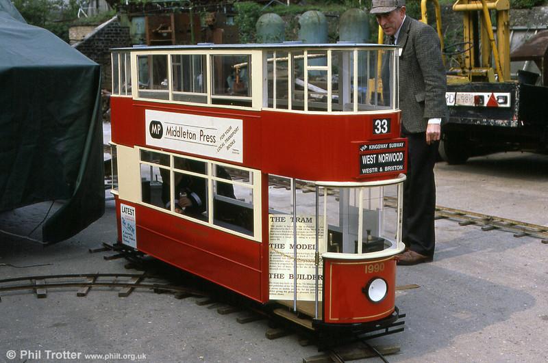 A convincing model of a London E/1 car seen at Kew Bridge Steam Museum on 27th April 1991.