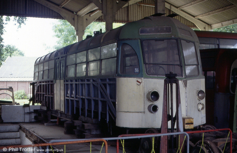 The sole surviving Blackpool 'Marton Vambac' car, no. 11, undergoing restoration at the EATM on 2nd September 1990.