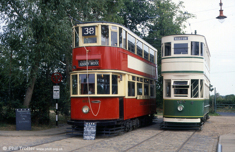 London HR2 car 1858 and Blackpool Standard 159 at Chapel Road terminus, EATM on 2nd September 1990.