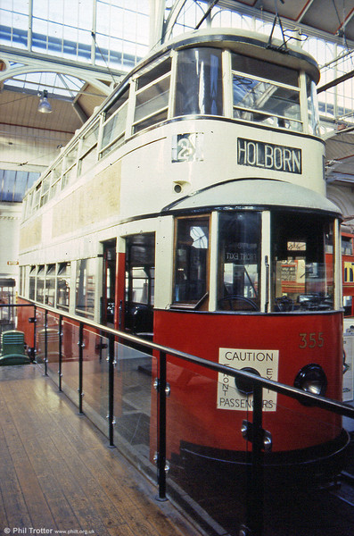 The Feltham trams were named because they were built by the Union Construction Company in Feltham. 100 Feltham Trams were built in total, 54 for Metropolitan Electric Tramways and 46 for London United Tramways. MET 355 is seen in its original livery at the LT Museum in 1989; it was renumbered 2099 by LPTB.