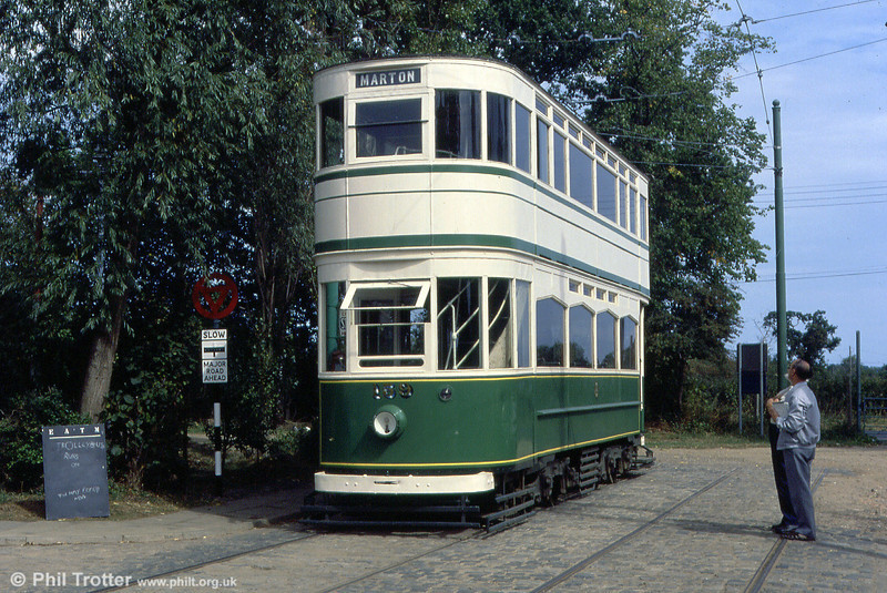 Blackpool Standard car 159 at Chapel Road, EATM on 2nd September 1990. 159 dates from 1927 and was built as an open balcony car, being enclosed in 1930.