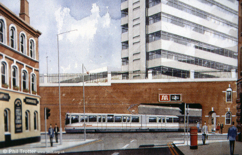 A second artist's impression showing a Metrolink vehicle leaving Piccadilly undercroft.