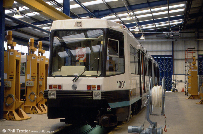 The first Metrolink production car, 1001 in the workshop at Queens Road depot on 24th November 1991.