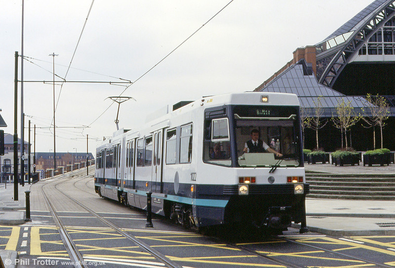 Car 1022 passes the G-Mex Centre (formerly Manchester Central station) on 4th May 1992.