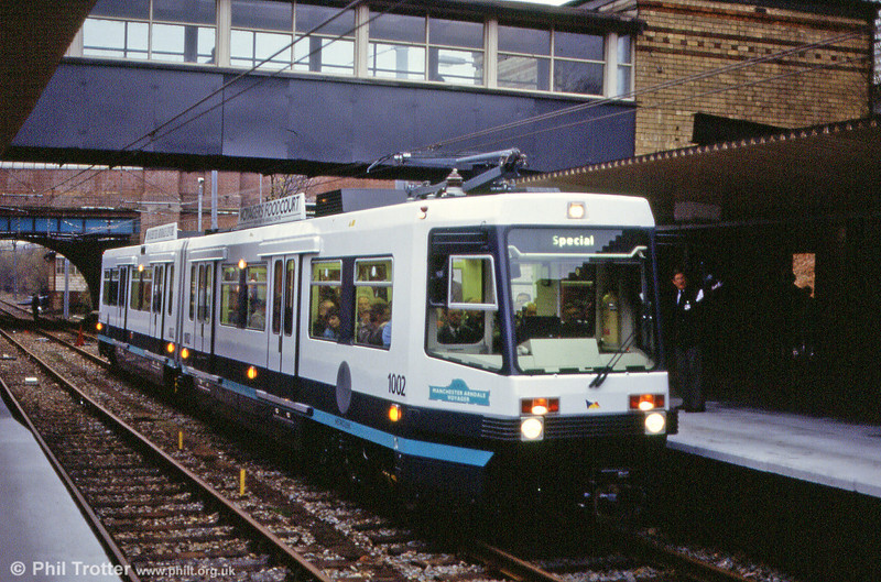 1002 'Manchester Arndale Voyager' again at Crumpsall working a pre-opening LRTA enthusiasts' special on 24th November 1991.