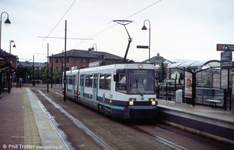 Metrolink T68M 2004 at Salford Quays on 26th June 2004.