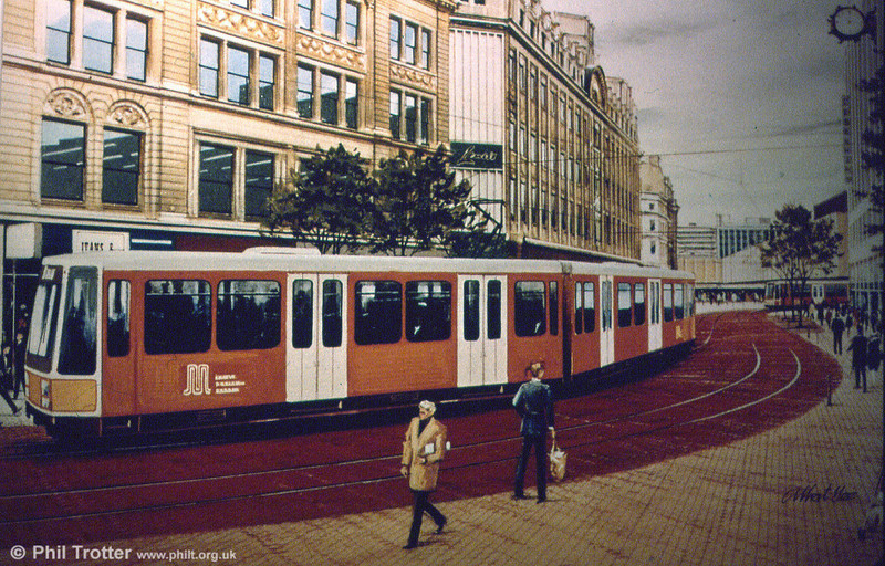 An early artist's impression of a Metrolink car in Market Street. It was anticpated that the livery would be similar to GMPTE buses.