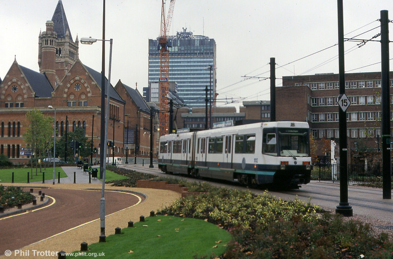 Metrolink 1012 running through the landscaped area near Piccadilly Station on 2nd October 1993.