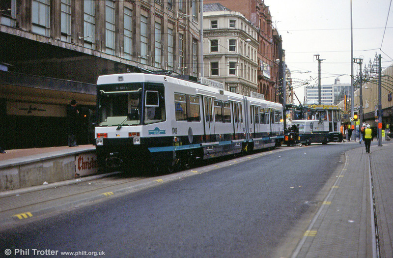A final look at 1002 'Manchester Arndale Voyager' on its trial run through Manchester on 24th November 1991.