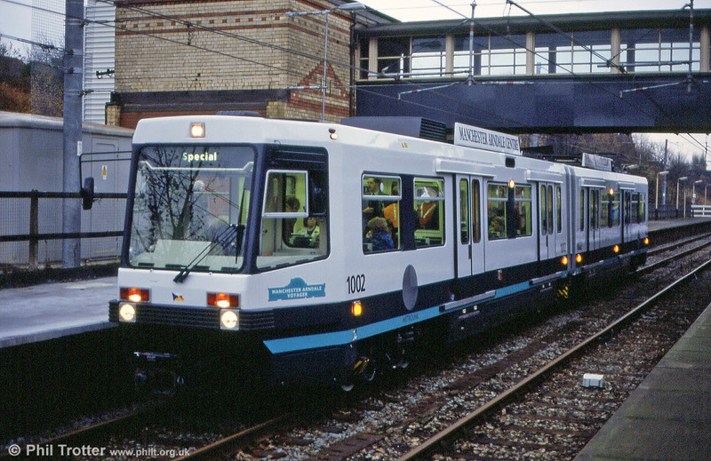 1002 'Manchester Arndale Voyager' at Crumpsall working a pre-opening enthusiasts' special for the LRTA on 24th November 1991.