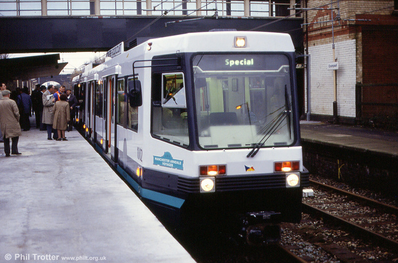 1002 'Manchester Arndale Voyager' at Crumpsall working a pre-opening LRTA enthusiasts' special on 24th November 1991.
