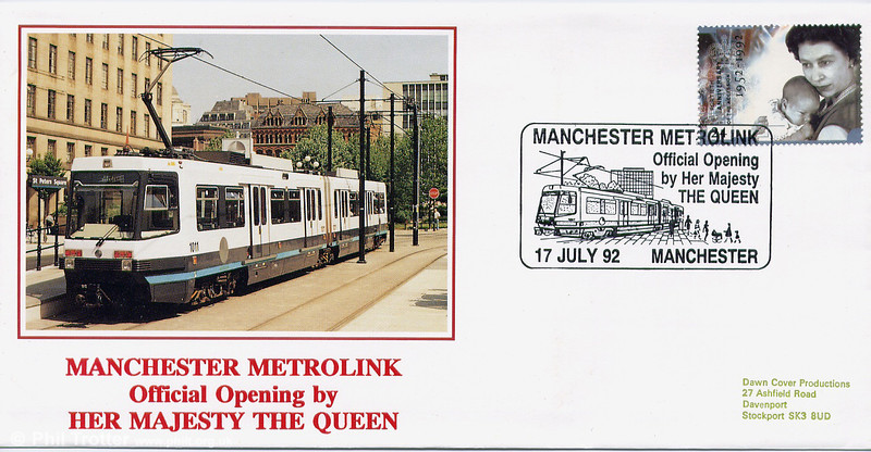 First Day Cover featuring car 1011 issued to commemorate the official opening on 17th July 1992.