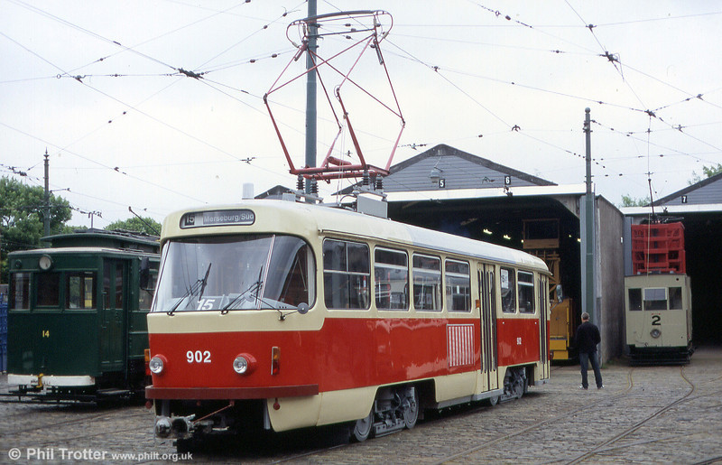 Halle 902 was one of only two bidirectional versions of the Tatra T4D for the Merseburger line 15. 12th June 2005.