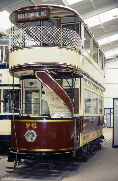 Leicester 76 was built in 1904 and was withdrawn from service in 1947. It is restored to 1920 condition. 17th May 1992.
