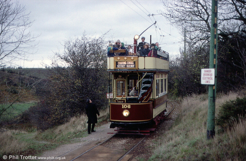 London County Council 106 was built in 1903 and was restored by the LCC Tramways Trust. It is seen at Glory Mine Terminus on 28th October 1989.