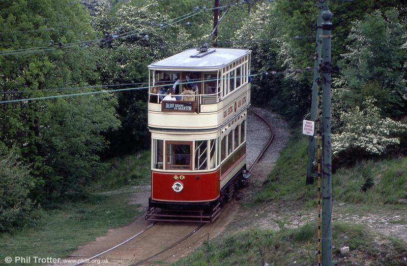 Blackpool 40 is a standard car built in 1926 with seating for 78 passengers. It is seen at Glory Mine terminus on 20th May 1990.