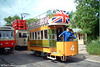 A patriotic Blackpool 4 is seen running on battery power at on 12th June 2005.
