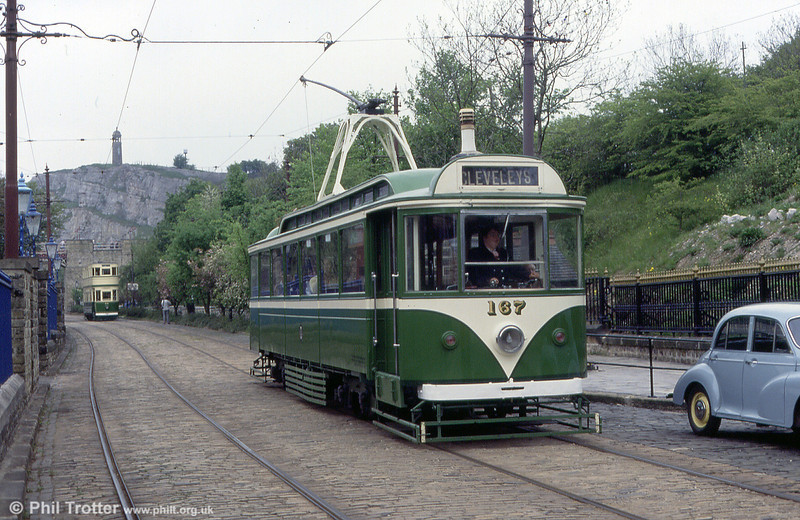 Blackpool 167 was built in 1928 for the Fleetwood service and was one of ten similar cars. It is seen on 19th May 1991.