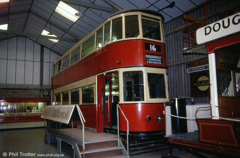 London Transport prototype no. 1 was built for London County Council Tramways in 1932 but remained a one-off, seeing little use until it was eventually sold to Leeds. 19th May 1990.