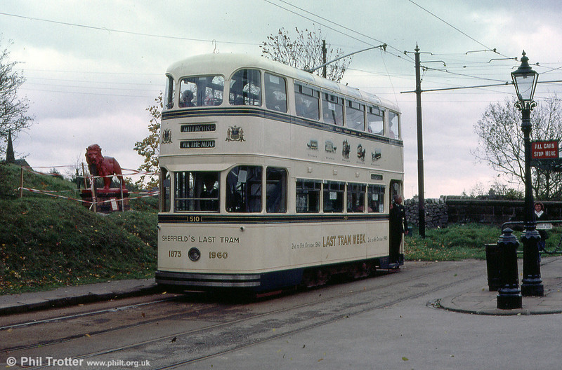 Sheffield Roberts car 510 ws only 10 years old when the system closed in 1960. It carries a commemorative 'Last Tram' livery. Seen at Town End on 28th October 1989.