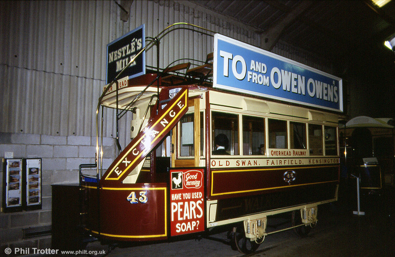Liverpool horse car 43 was discovered serving as a potting shed prior to preservation; it ran on the Old Swan to Pier Head route. 18th May 1991.