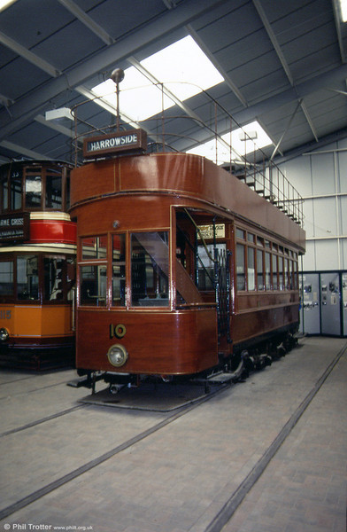"""Hill of Howth 10 was built in 1902 for the 5' 3"""" gauge Hill of Howth Tramway near Dublin. It was one of 10 similar cars; the tramway closed in May 1959. 28th September 1991."""