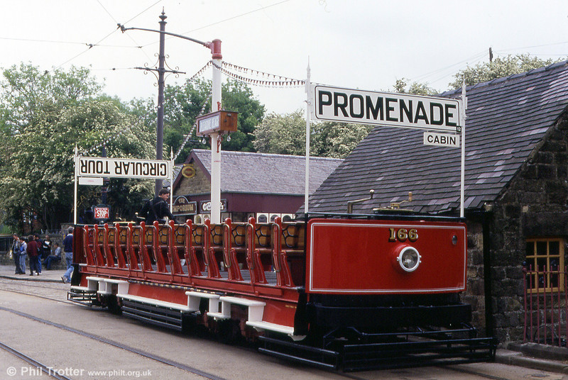 Blackpool 'toastrack' 166 dates from 1927 and saw service on the town's promenade tours. It is seen at Town End on 20th May, 1990.
