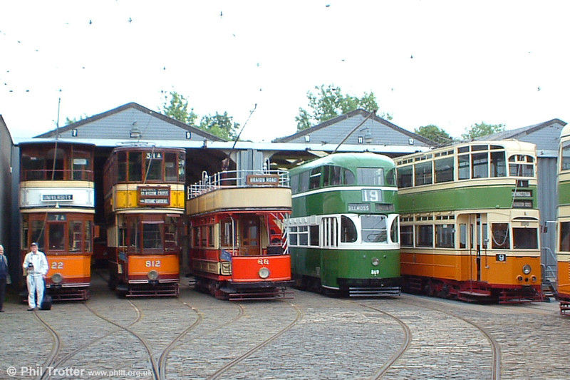 A line up of cars outside the depot on 12th June 2005. Each of these cars has run in Glasgow, including Liverpool 869 which ran there between 1954 and 1960.