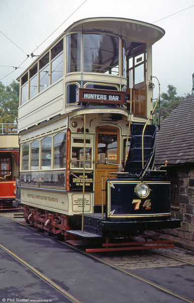 The magnificent restoratiion that is Sheffield 74. It was built in 1900 and is an example of a short top cover car. Seen in September 1997.
