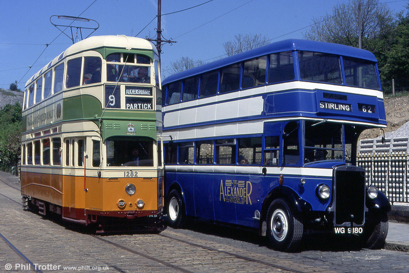 Glasgow 1282 in the company of W. Alexander 1940 Leyland TD7/Leyland L27/26R R266 (WG 9180) on 17th May 1992.
