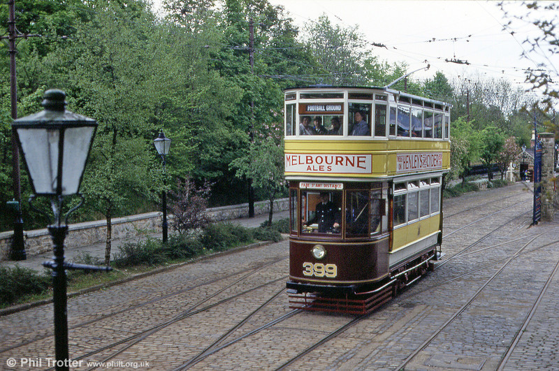 Leeds 399 on 18th May 1991; the car was built in 1925 at Kirkstall Road Works.
