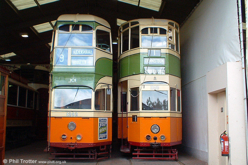 Looking almost like an authentic Glasgow depot shot, here are Coronation 1282 and experimental streamliner 1100 at on 12th June 2005.