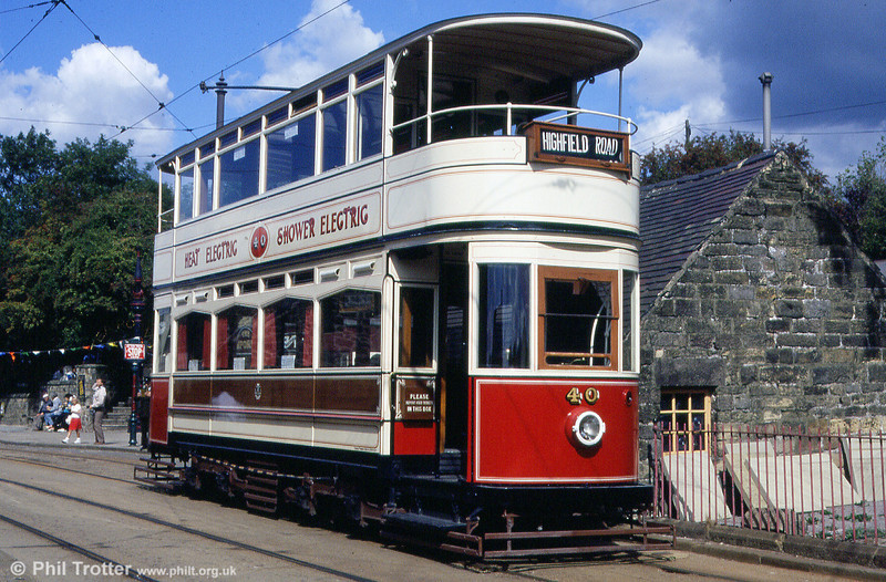 Blackpool 40 was the last open balcony car to run commercially in Britain. Photographed here on 8th September 1990.