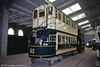 Dundee and District Tramways trailer 21 in the exhibition hall on 18th May 1991. The car, which has seating for 66, survived due to being used as a fishermen's hut.