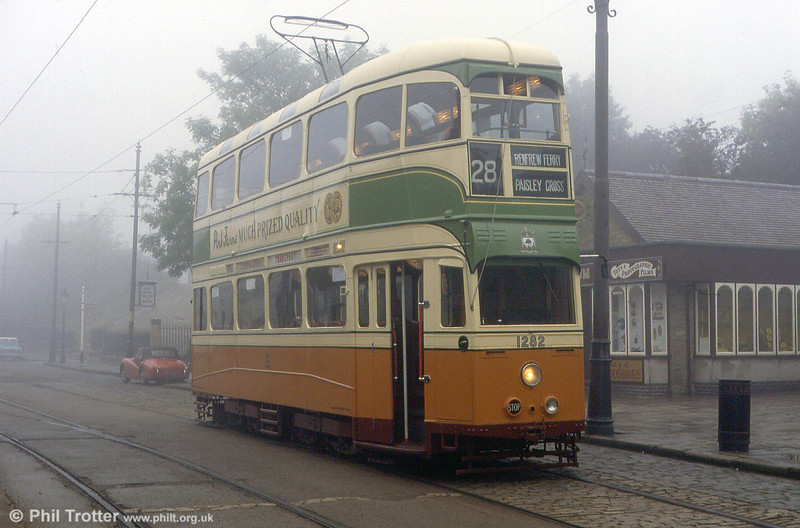 Glasgow 1282 in the fog on 26th September 1992. Apart from the Blackpool tramway, Glasgow became the last city or town in the UK to operate trams until the opening of Manchester Metrolink in 1992.