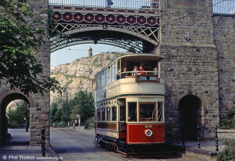 Blackpool 40 passes beneath the Bowes-Lyon Bridge on 16th May 1992.