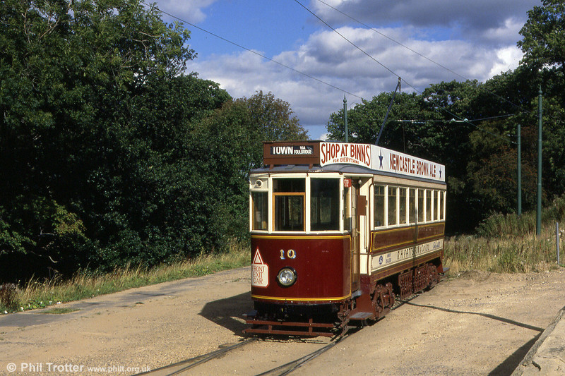 Beamish ex-Gateshead car 10 at the museum entrance terminus on 3rd September 1990.