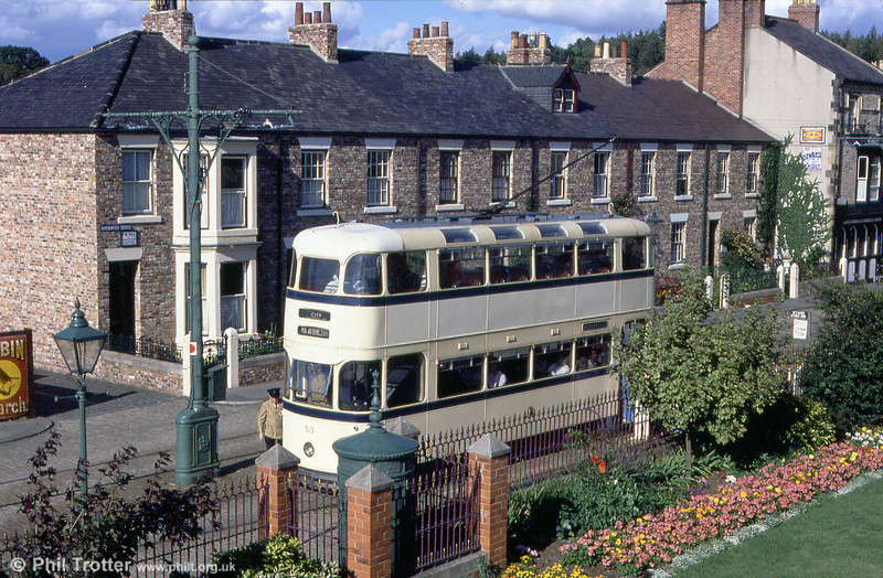 In an authentic setting, Beamish ex-Sheffield 513 at the town terminus on 3rd September 1990.
