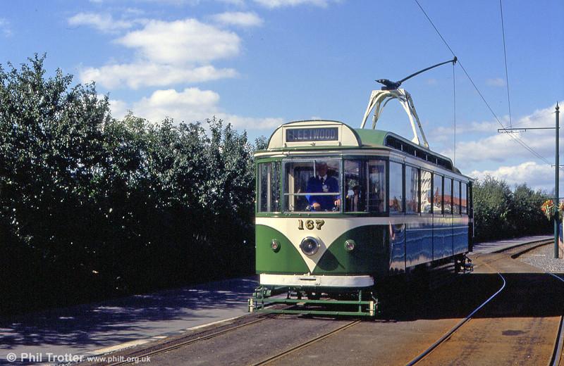 Blackpool 167 at Eslington on the short running line at the Gateshead Garden Festival on 3rd September 1990.