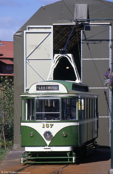 1928-built Blackpool car 167, thankfully in an authentic livery at Dunston, on the Gateshead Garden Festival Tramway on 3rd September 1990.