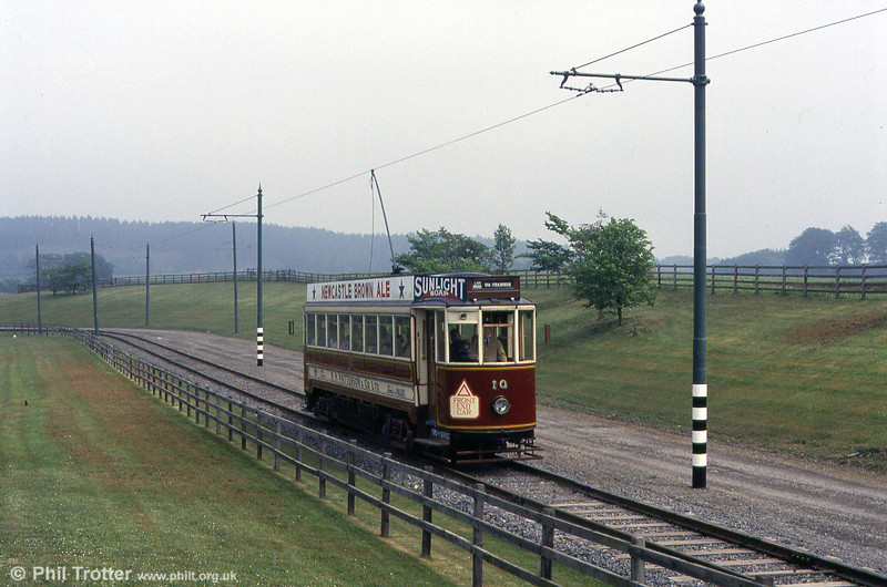Illustrating the features of an interurban tramway, Gateshead 10 is seen in action at Beamish on 24th May 1992.