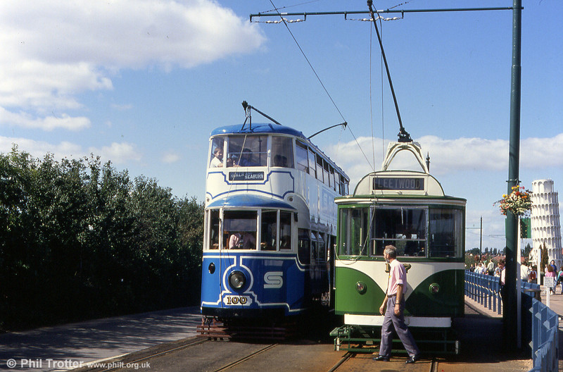 BSC liveried Feltham 100 and Blackpool 167 at Eslington on the Gateshead Garden Festival Tramway on 3rd September 1990.