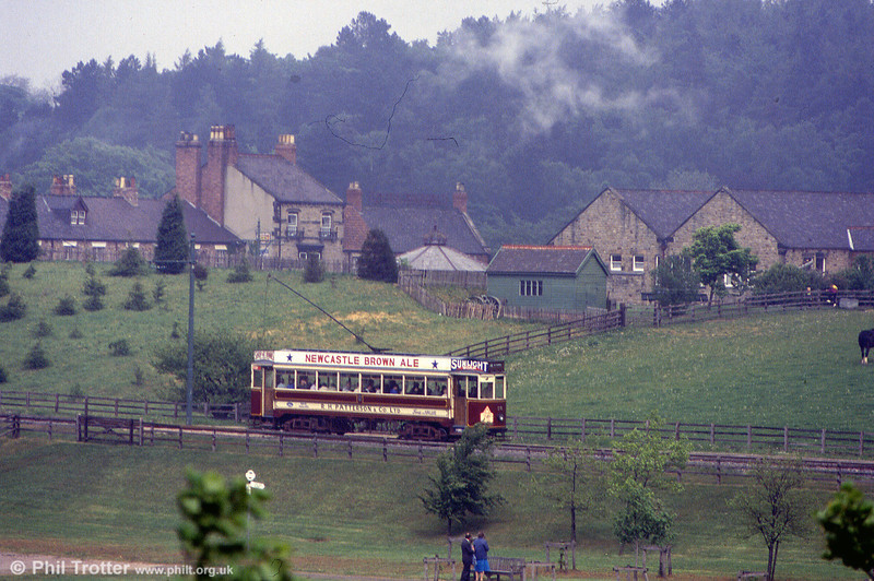 Against a backdrop of traditional buildings, Gateshead 10 heads away from the town at Beamish on 24th May 1992.