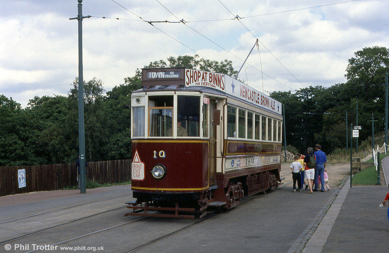 Beamish former Gateshead car 10 at the museum entrance on 3rd September 1990.