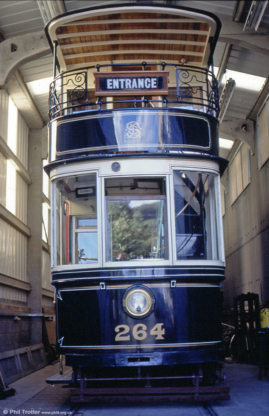 Sheffield 264 in the depot at Beamish on 3rd September 1990.