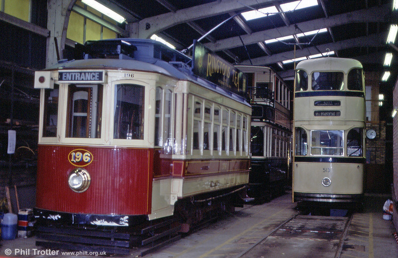 Beamish ex-Oporto car 196 restored to a ficticious 'Beamish Tramways' livery in the depot on 8th November 1992.