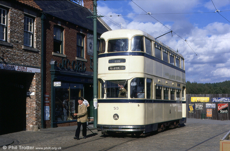 North of England Open air Museum (Beamish) Sheffield Roberts car no. 513 on 3rd September 1990.