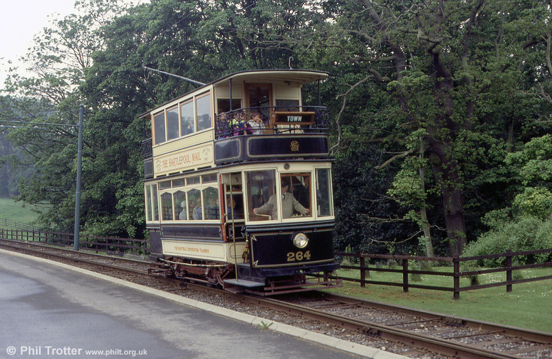 Beamish ex-Sheffield car 264 of 1907 on 24th May 1992. The car saw service in Sheffield until 1956.
