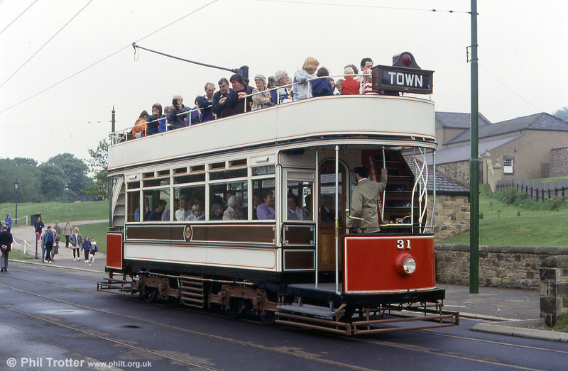 Expectant visitors await departure from the main entrance at Beamish on Blackpool 31 on 24th May 1992.